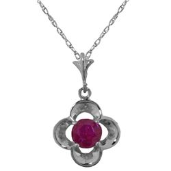Genuine 0.55 ctw Ruby Necklace Jewelry 14KT White Gold - REF-25T4A