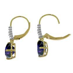 Genuine 3.15 ctw Sapphire & Diamond Earrings Jewelry 14KT Rose Gold - REF-52Y3F