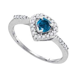 0.50 CTW Blue Color Diamond Solitaire Heart Ring 10KT White Gold - REF-30Y2X