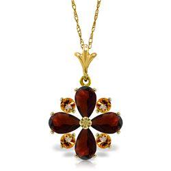 Genuine 2.43 ctw Garnet & Citrine Necklace Jewelry 14KT Yellow Gold - REF-29Y7F