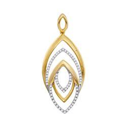 0.20 CTW Diamond Geometric Oval Pendant 10KT Yellow Gold - REF-25N4F