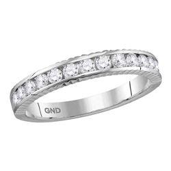 0.50 CTW Diamond Wedding Anniversary Ring 14KT White Gold - REF-44F9N