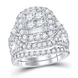 3.34 CTW Princess Diamond Cluster Bridal Engagement Ring 14KT White Gold - REF-359F9N