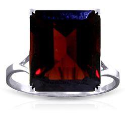 Genuine 7 ctw Garnet Ring Jewelry 14KT White Gold - REF-50P2H