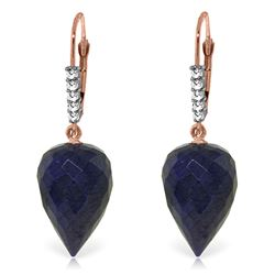 Genuine 25.95 ctw Sapphire & Diamond Earrings Jewelry 14KT Rose Gold - REF-53H4X