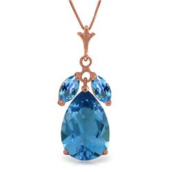 Genuine 6.5 ctw Blue Topaz Necklace Jewelry 14KT Rose Gold - REF-38M2T