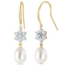 Genuine 9.01 ctw Aquamarine, Pearl & Diamond Earrings Jewelry 14KT Yellow Gold - REF-45T3A