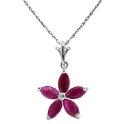 Genuine 1.40 ctw Ruby Necklace Jewelry 14KT White Gold - REF-30V7W