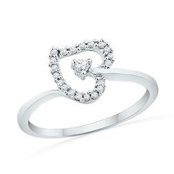 0.13 CTW Diamond Heart Outline Solitaire Ring 10KT White Gold - REF-14M9H