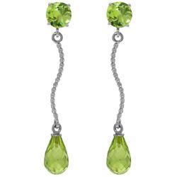 Genuine 4.3 ctw Peridot Earrings Jewelry 14KT White Gold - REF-23Y5F