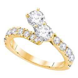 1.46 CTW Diamond 2-stone Hearts Together Bridal Ring 14KT Yellow Gold - REF-187N4F