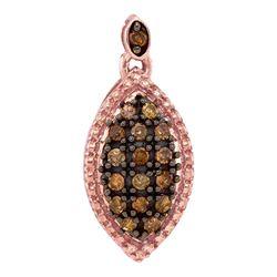 0.22 CTW Cognac-brown Color Diamond Oval Cluster Pendant 10KT Rose Gold - REF-12F2N