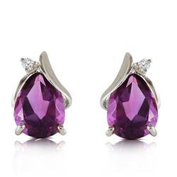 Genuine 3.16 ctw Amethyst & Diamond Earrings Jewelry 14KT White Gold - REF-45K2V