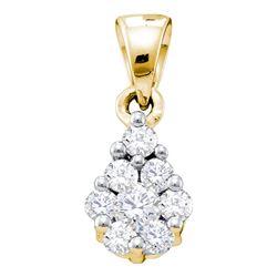 0.17 CTW Diamond Flower Cluster Pendant 10KT Yellow Gold - REF-14W9K