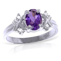 Genuine 0.97 ctw Amethyst & Diamond Ring Jewelry 14KT White Gold - REF-59F2Z
