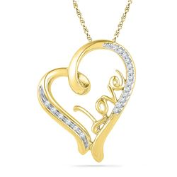 0.10 CTW Diamond Heart Love Pendant 10KT Yellow Gold - REF-16X4Y