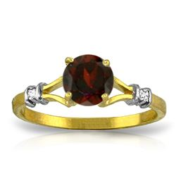 Genuine 1.07 ctw Garnet & Diamond Ring Jewelry 14KT Yellow Gold - REF-27M8T
