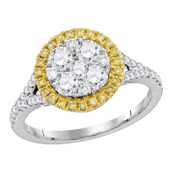 1.1 CTW Yellow Diamond Cluster Bridal Engagement Ring 18KT White Gold - REF-194W9K