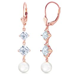 Genuine 6.5 ctw Pearl & Aquamarine Earrings Jewelry 14KT Rose Gold - REF-45A8K