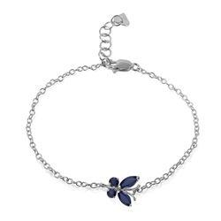 Genuine 0.60 ctw Sapphire Bracelet Jewelry 14KT White Gold - REF-44A7K