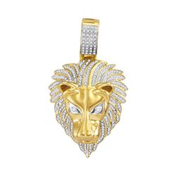 0.85 CTW Mens Diamond Lion Head Animal Charm Pendant 10KT Yellow Gold - REF-101M2H