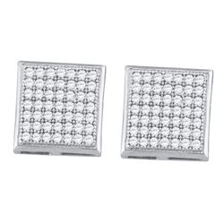 0.33 CTW Diamond Square Cluster Earrings 10KT White Gold - REF-24F2N