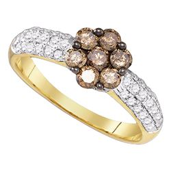 0.92 CTW Cognac-brown Color Diamond Flower Cluster Ring 10KT Yellow Gold - REF-47K9W