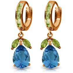Genuine 14.3 ctw Blue Topaz & Peridot Earrings Jewelry 14KT Rose Gold - REF-82T9A
