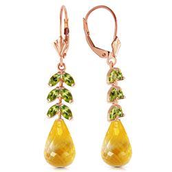 Genuine 11.20 ctw Citrine & Peridot Earrings Jewelry 14KT Rose Gold - REF-56Y2F