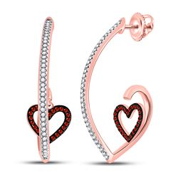 0.27 CTW Red Color Diamond Heart Dangle Earrings 10KT Rose Gold - REF-37M5H