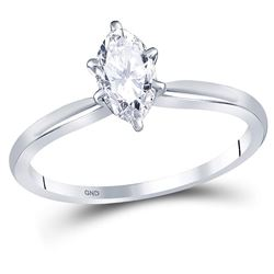 0.71 CTW Marquise Diamond Solitaire Bridal Engagement Ring 14KT White Gold - REF-165F2N