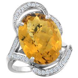 Natural 11.23 ctw quartz & Diamond Engagement Ring 14K White Gold - REF-98M7H