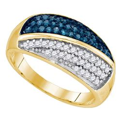 0.50 CTW Blue Color Diamond Double Cluster Ring 10KT Yellow Gold - REF-30F2N