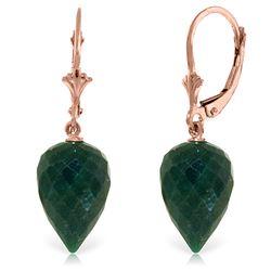 Genuine 25.7 ctw Green Sapphire Corundum Earrings Jewelry 14KT Rose Gold - REF-37V7W
