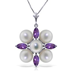Genuine 6.3 ctw Amethyst & Pearl Necklace Jewelry 14KT White Gold - REF-59T2A