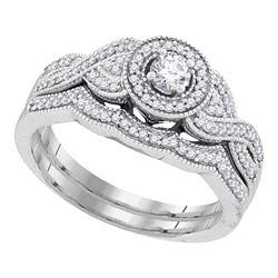 0.38 CTW Diamond Bridal Wedding Engagement Ring 10KT White Gold - REF-57X2Y