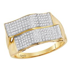 0.50 CTW Mens Pave-set Diamond Rectangle Cluster Ring 10KT Yellow Gold - REF-67N4F