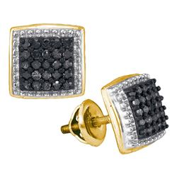 0.50 CTW Black Color Diamond Square Cluster Earrings 10KT Yellow Gold - REF-25F4N