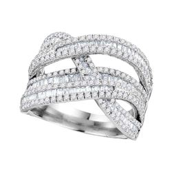 1.84 CTW Diamond Crossover Woven Strand Ring 10KT White Gold - REF-119Y9X
