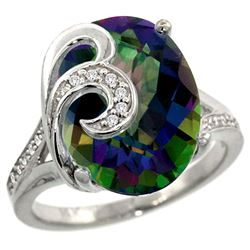 Natural 11.18 ctw mystic-topaz & Diamond Engagement Ring 14K White Gold - REF-82Z2Y