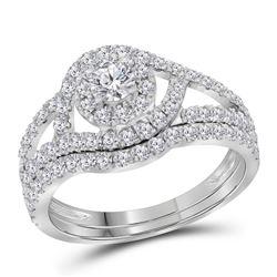 1.25 CTW Diamond Split-shank Halo Bridal Engagement Ring 14KT White Gold - REF-119N9F