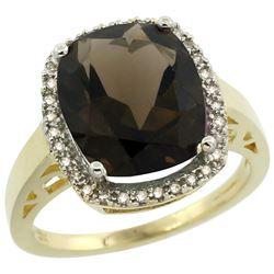 Natural 5.28 ctw Smoky-topaz & Diamond Engagement Ring 14K Yellow Gold - REF-53R2Z