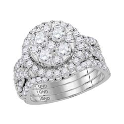 2.5 CTW Diamond Bridal Wedding Engagement Ring 14KT White Gold - REF-269W9K