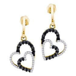 0.50 CTW Black Color Diamond Double Heart Dangle Earrings 10KT Yellow Gold - REF-37W5K