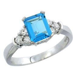 Natural 1.48 ctw swiss-blue-topaz & Diamond Engagement Ring 14K White Gold - REF-52K3R