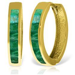 Genuine 1.85 ctw Emerald Earrings Jewelry 14KT Yellow Gold - REF-71A2K
