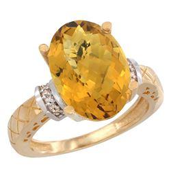 Natural 5.53 ctw Whisky-quartz & Diamond Engagement Ring 14K Yellow Gold - REF-57W8K