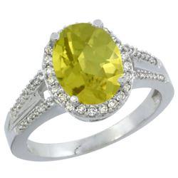 Natural 2.72 ctw lemon-quartz & Diamond Engagement Ring 10K White Gold - REF-44V2F