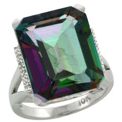 Natural 12.13 ctw Mystic-topaz & Diamond Engagement Ring 10K White Gold - REF-55X8A