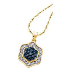 0.50 CTW Blue Color Diamond Hexagon Cluster Pendant 10KT Yellow Gold - REF-25H4M